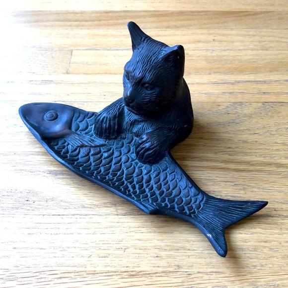 Vintage Metal Cat & Fish Tray